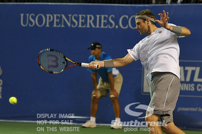 Mardy Fish (USA) powers a forehand during the second round.  Mardy Fish defeated Nicolas Mahut in straight sets 6-3, 6-3 in Second Round Action on Thursday in the Atlanta Tennis Championships at the Racquet Club of the South in Norcross, GA.