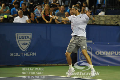 Mardy Fish (USA) hits a forehand shot during the second round.  Mardy Fish defeated Nicolas Mahut in straight sets 6-3, 6-3 in Second Round Action on Thursday in the Atlanta Tennis Championships at the Racquet Club of the South in Norcross, GA.