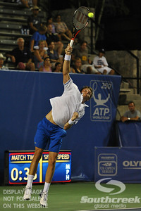 Nicolas Mahut (FRA) hits a serve during the second round.  Mardy Fish defeated Nicolas Mahut in straight sets 6-3, 6-3 in Second Round Action on Thursday in the Atlanta Tennis Championships at the Racquet Club of the South in Norcross, GA.