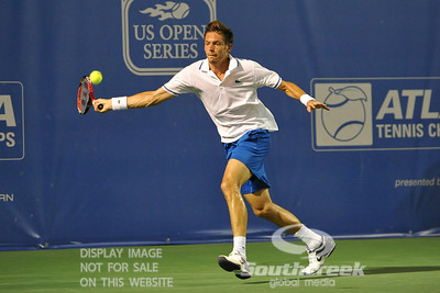 Nicolas Mahut (FRA) runs to hit a forehand shot during the second round.  Mardy Fish defeated Nicolas Mahut in straight sets 6-3, 6-3 in Second Round Action on Thursday in the Atlanta Tennis Championships at the Racquet Club of the South in Norcross, GA.