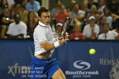 Nicolas Mahut (FRA) hits a powerful forehand during the second round.  Mardy Fish defeated Nicolas Mahut in straight sets 6-3, 6-3 in Second Round Action on Thursday in the Atlanta Tennis Championships at the Racquet Club of the South in Norcross, GA.
