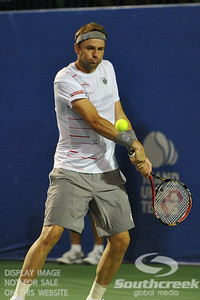 Mardy Fish (USA) lines up his backhand during the second round.  Mardy Fish defeated Nicolas Mahut in straight sets 6-3, 6-3 in Second Round Action on Thursday in the Atlanta Tennis Championships at the Racquet Club of the South in Norcross, GA.