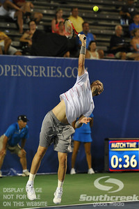 Mardy Fish (USA) hits a serve during the second round.  Mardy Fish defeated Nicolas Mahut in straight sets 6-3, 6-3 in Second Round Action on Thursday in the Atlanta Tennis Championships at the Racquet Club of the South in Norcross, GA.