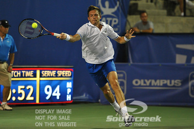 Nicolas Mahut (FRA) hits a forehand on the run during the second round.  Mardy Fish defeated Nicolas Mahut in straight sets 6-3, 6-3 in Second Round Action on Thursday in the Atlanta Tennis Championships at the Racquet Club of the South in Norcross, GA.