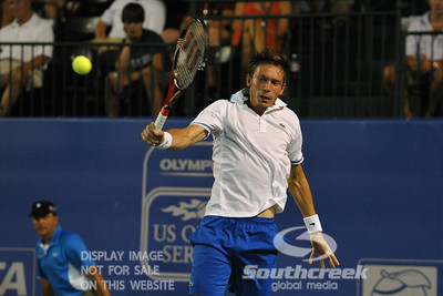 Nicolas Mahut (FRA) swats a backhand during the second round.  Mardy Fish defeated Nicolas Mahut in straight sets 6-3, 6-3 in Second Round Action on Thursday in the Atlanta Tennis Championships at the Racquet Club of the South in Norcross, GA.