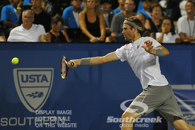 Mardy Fish (USA) hits a running forehand during the second round.  Mardy Fish defeated Nicolas Mahut in straight sets 6-3, 6-3 in Second Round Action on Thursday in the Atlanta Tennis Championships at the Racquet Club of the South in Norcross, GA.