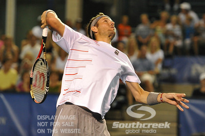Mardy Fish (USA) lines up a slam at the net during the second round.  Mardy Fish defeated Nicolas Mahut in straight sets 6-3, 6-3 in Second Round Action on Thursday in the Atlanta Tennis Championships at the Racquet Club of the South in Norcross, GA.