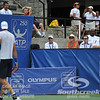 John Isner (USA) shrugs his shoulders at his coach Craig Boynton during the semifinal match. John Isner defeated Gilles Muller in three sets 7-5, 6-7, 6-1 in the Semifinal Match on Saturday in the Atlanta Tennis Championships at the Racquet Club of the South in Norcross, GA.