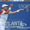Gilles Muller (LUX) hits a forehand against John Isner (USA) during the semifinal match. John Isner defeated Gilles Muller in three sets 7-5, 6-7, 6-1 in the Semifinal Match on Saturday in the Atlanta Tennis Championships at the Racquet Club of the South in Norcross, GA.