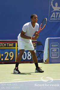 Gabriel Townes (USA) awaits the serve from Tim Smyczek (USA) during the qualifying rounds.  Tim Smyczek defeated Gabriel Townes in straight sets 6-4, 6-2 in the Sunday Qualifier at the Atlanta Tennis Championships at the Racquet Club of the South in Norcross, GA.