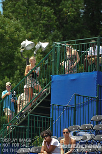 Fans wait for a break in action while Austin Smith (USA) battles Denis Kudla (USA) during a qualifying match.  Denis Kudla defeated Austin Smith in straight sets 6-4, 6-4 in the Sunday Qualifier at the Atlanta Tennis Championships at the Racquet Club of the South in Norcross, GA.
