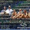 Fans try to stay cool during a qualifying match between Austin Smith (USA) and Denis Kudla (USA).  Denis Kudla defeated Austin Smith in straight sets 6-4, 6-4 in the Sunday Qualifier at the Atlanta Tennis Championships at the Racquet Club of the South in Norcross, GA.