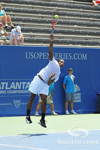 Gabriel Townes (USA) serves to Tim Smyczek (USA) during the qualifying rounds.  Tim Smyczek defeated Gabriel Townes in straight sets 6-4, 6-2 in the Sunday Qualifier at the Atlanta Tennis Championships at the Racquet Club of the South in Norcross, GA.