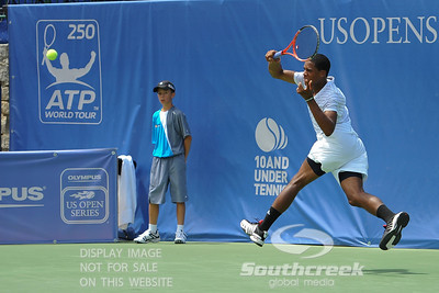 Gabriel Townes (USA) hits a running forehand against Tim Smyczek (USA) during the qualifying rounds.  Tim Smyczek defeated Gabriel Townes in straight sets 6-4, 6-2 in the Sunday Qualifier at the Atlanta Tennis Championships at the Racquet Club of the South in Norcross, GA.