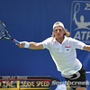 Denis Kudla (USA) reaches for a forehand against Austin Smith (USA) during a qualifying match.  Denis Kudla defeated Austin Smith in straight sets 6-4, 6-4 in the Sunday Qualifier at the Atlanta Tennis Championships at the Racquet Club of the South in Norcross, GA.