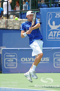 Tim Smyczek (USA) hits a tight backhand against Gabriel Townes (USA) during the qualifying rounds.  Tim Smyczek defeated Gabriel Townes in straight sets 6-4, 6-2 in the Sunday Qualifier at the Atlanta Tennis Championships at the Racquet Club of the South in Norcross, GA.
