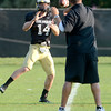Justin Gorman (14) catches a pass during the University of Colorado football team practice on Tuesday August 21 , 2012.<br /> For more photos go to www.buffzone. com<br /> Photo by Paul Aiken