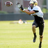 Isaac Archuleta (10) works on a pass defense drill  during the University of Colorado football team practice on Tuesday August 21 , 2012.<br /> For more photos go to www.buffzone. com<br /> Photo by Paul Aiken