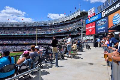 The left field upper deck, as seen from the centerfield bleachers