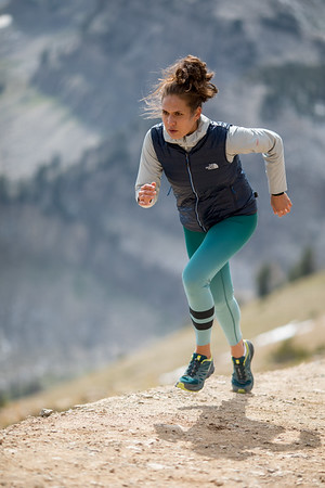 Logan Tom trail running at the summit of Jackson Hole Mountain Resort