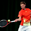 George Coupland in action against Josh Milton in  the Mens singles final of the Aegon Pro-Series Manchester.