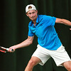 Josh Milton of Cardiff wins the Mens singles final against George Coupland at Aegon Pro-Series Manchester on 5th July 2014.