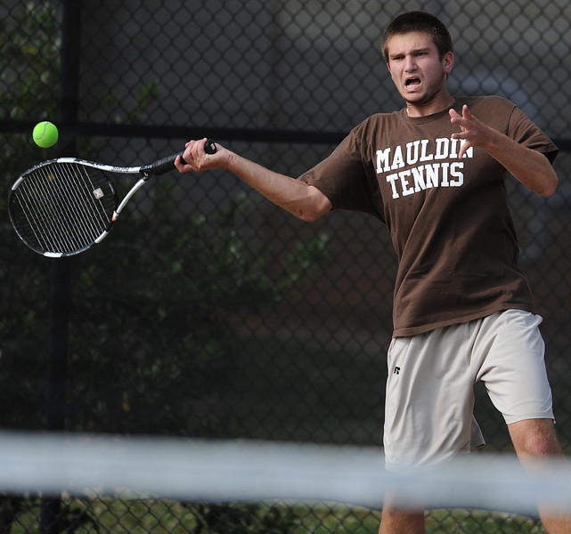 Mauldin tennis standout Alan Pearce holds the record (Boys) for most career wins at Mauldin with 119. Pearce, coached by Lee Taylor, is a six-year starter and a five-time All-Region player. Pearce signed to play collegiate tennis at Erskine.<br /> GWINN DAVIS PHOTOS<br /> gwinndavis@gmail.com  <br /> (864) 915-0411<br /> gwinndavisphotos.com