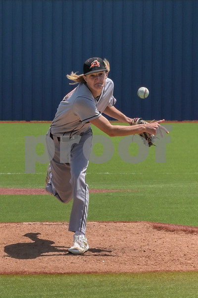 Aledo starting pitcher #10 Tristan Thurman launches a pitch in the first inning of a game against Justin Northwest.