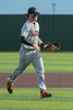 Aledo centerfielder #23 Max Belyeu brings the ball in after making a catch for the third out to end the first inning.