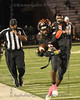 Aledo RB #6 Demarco Roberts just barely steps out of bounds as he tries to gain more yardage.