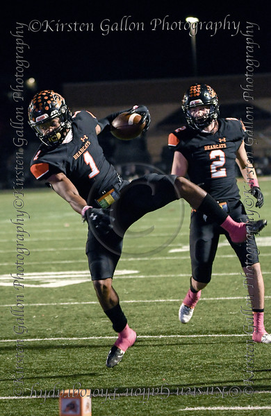 Aledo WR #1 Jo Jo Earle comes down with a pass just in front of WR #2 Jsedon Pellegrino.