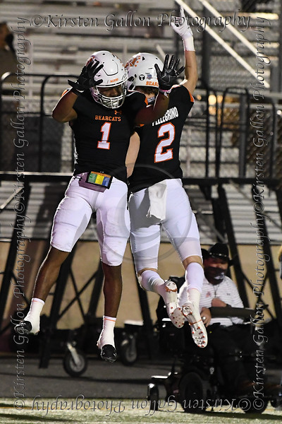 Aledo receivers #1 JoJo Earle and #2 Jaedon Pellegrino celebrate after another Earle touchdown.
