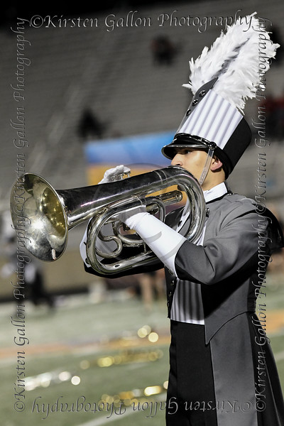 An unidentified member of the Aledo marching band who had a solo during the halftime presentation.  I will work on getting him identified.