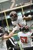Aledo WR #! Jojo Earle celebrates his first touchdown with teammates #57 OL Brady Wood and #2 WR Jaedon Pelligrino.