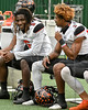 Two of Aledo's top offensive weapons, #6 RB DeMarco Robarts and #1 WR  JoJo Earle participate in some sideline banter.