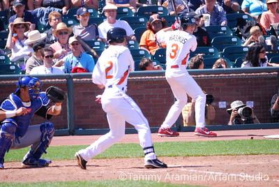 Robinzon Diaz behind the plate, Jacoby Ellsbury at bat, Colby Rasmus on deck