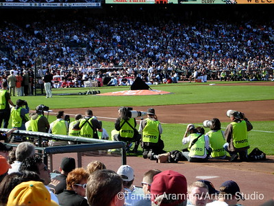 not enough room for officially credentialed photographers in the photo wells - note more on 3rd base side