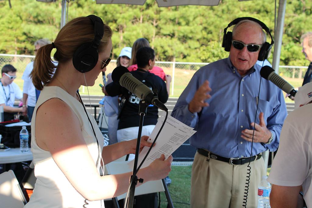 "GPB ""All Things Considered"" host Rickey Bevington and legendary UGA football coach, Vince Dooley. (Photo Credit: Shauna Stuart, GPB news)"