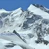 Summits on the Monte Rosa (l to r). Signalkuppe (with Margaritta cabin), Zumsteinspitze, Jagerhorn, Dufourspitze and Nordend on the swiss italian border