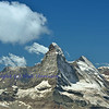 The magnificent Matterhorn between Zermatt and Cervinia in the southern swiss alps with the Dent d'Herens to the right