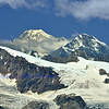 Left of centre : the Grand Combin, Right Mont Colon and the Pigne d'Arolla. In the foreground the Tete Blanche (c) and the Tete de Valpelline (r). In the southern swiss alps viewed from the east