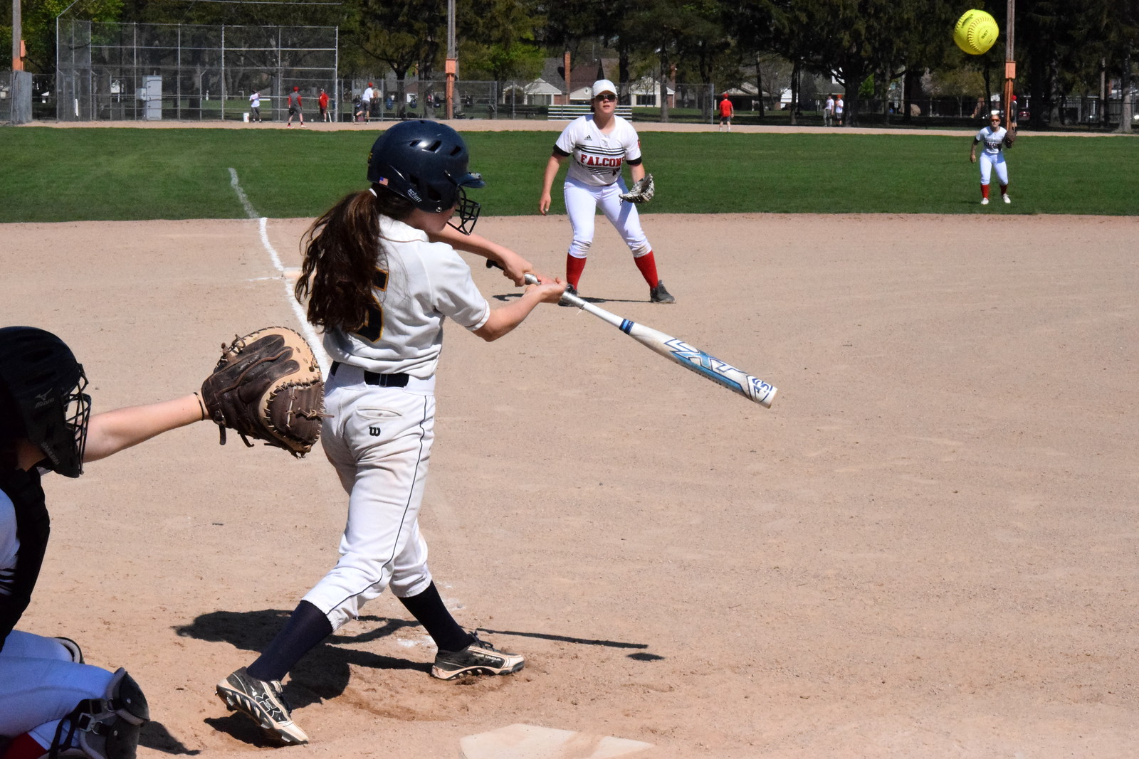 Divine Child welcomed in Allen Park Cabrini on Tuesday afternoon and swept a doubleheader against the Monarchs. The Falcons won game No. 1 by a score of 7-6 and they took the nightcap 8-5. Photo by Alex Muller - For Digital First Media