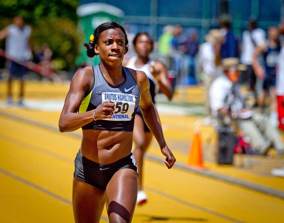 Alysia Montano runs the Wonen's 400 meter in the Brutus Hamilton Invitational track meet at Edwards Stadium in Berkeley, Calif., on Saturday Aril 28th, 2012.
