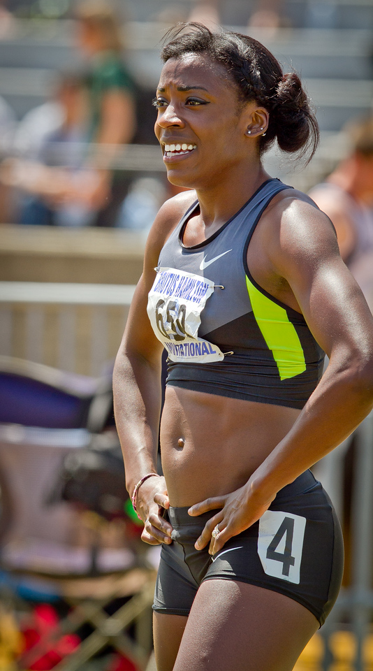 Alysia Montano smiles after running the Wonen's 400 meter in the Brutus Hamilton Invitational track meet at Edwards Stadium in Berkeley, Calif., on Saturday Aril 28th, 2012.