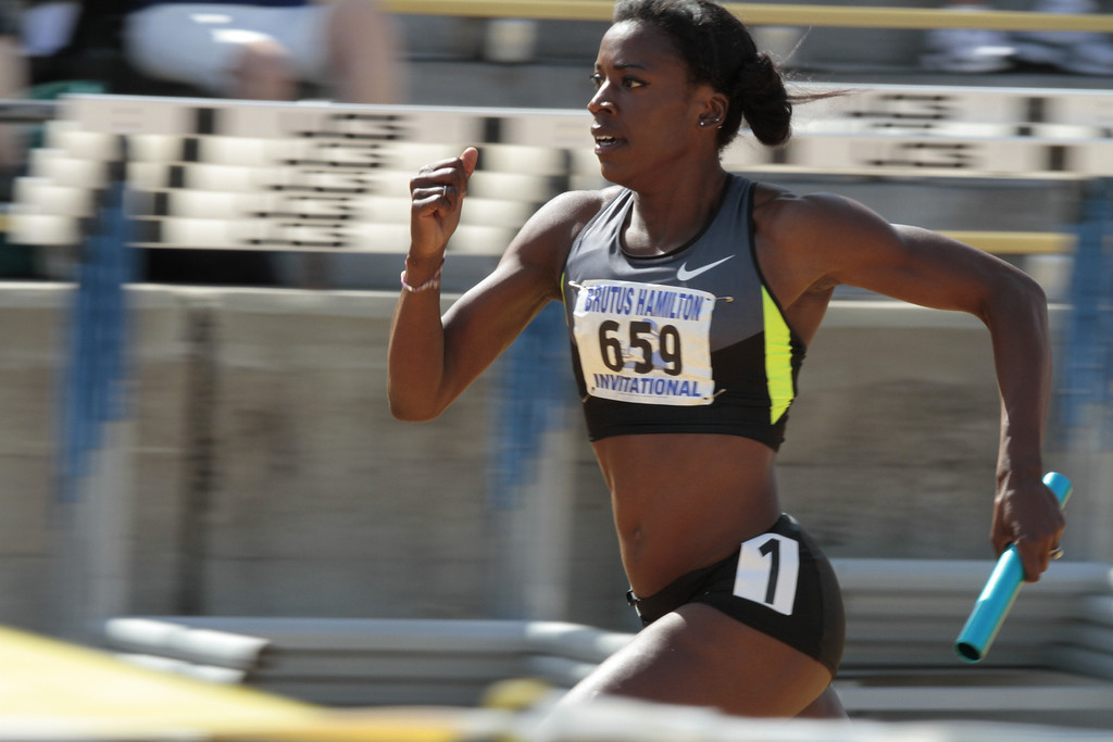 Alysia Montano runs the Women's 4X400 meter relay in the Brutus Hamilton Invitational track meet at Edwards Stadium in Berkeley, Calif., on Saturday Aril 28th, 2012.