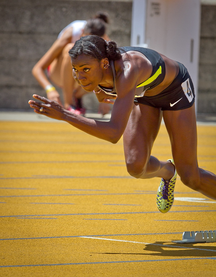 Alysia Montano runs the Wonen's 400 meter in the Brutus Hamilton Invitational track meet at Edwards Stadium in Berkeley, Calif., on Saturday Aril 28th, 2012.