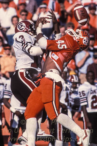 Clemson and South Carolina football game with broken pass play. Augusta, Georgia paper