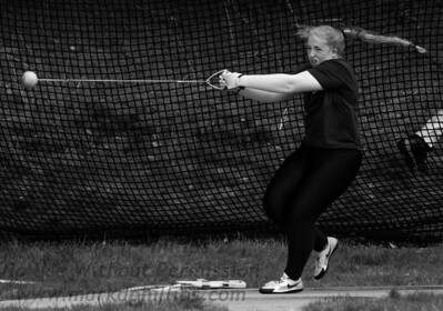 Nichols College Track & Field at ECSU on April 19, 2019; KAITLYN ANTHES throws hammer.