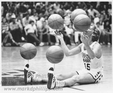 Spinning basketballs at basketball game in Morganton, North Carolina