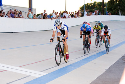 Grant Boursaw leads at the bell.